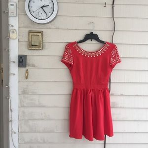 Urban Outfitters red minidress with silver studs